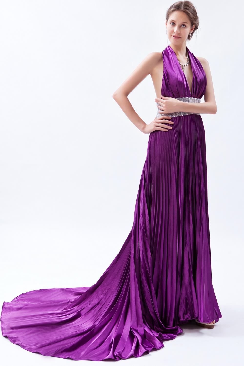Sequin Pleat Eggplant Purple V-neck Halter Evening Dress Court Train