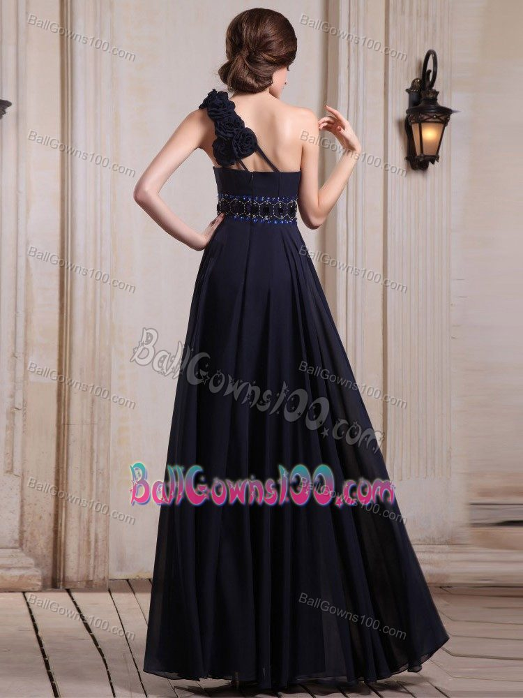 Beaded Long Dresses For Military Ball in Navy Blue with Hand Flower