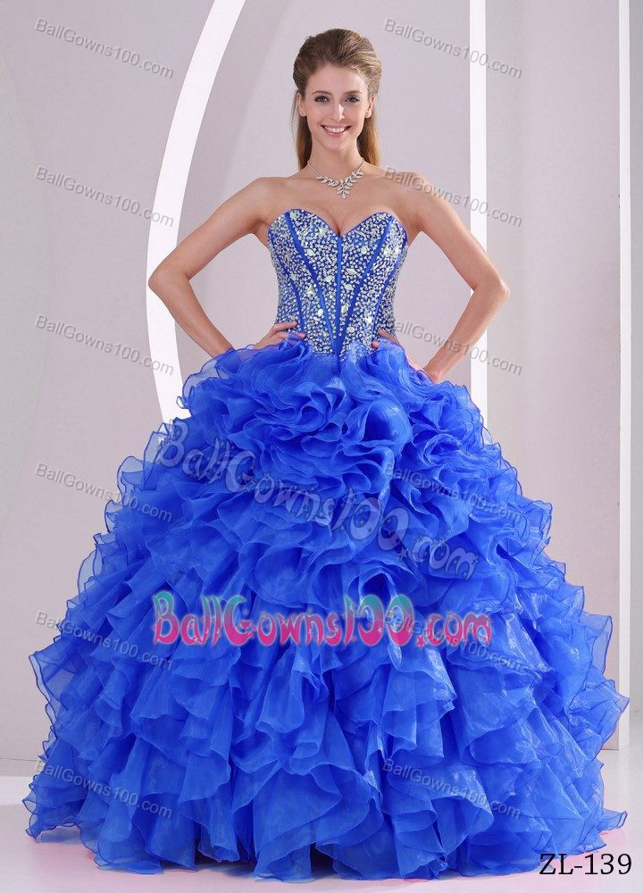 Lace-up Blue Long Beaded Cheap Military Ball Dresses with Ruffles