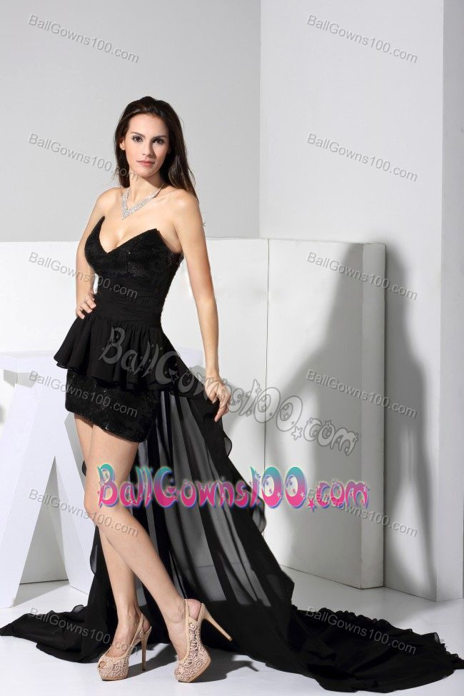 Sequin Accent High-low V-neck Dresses for Marine Corp Ball in Black