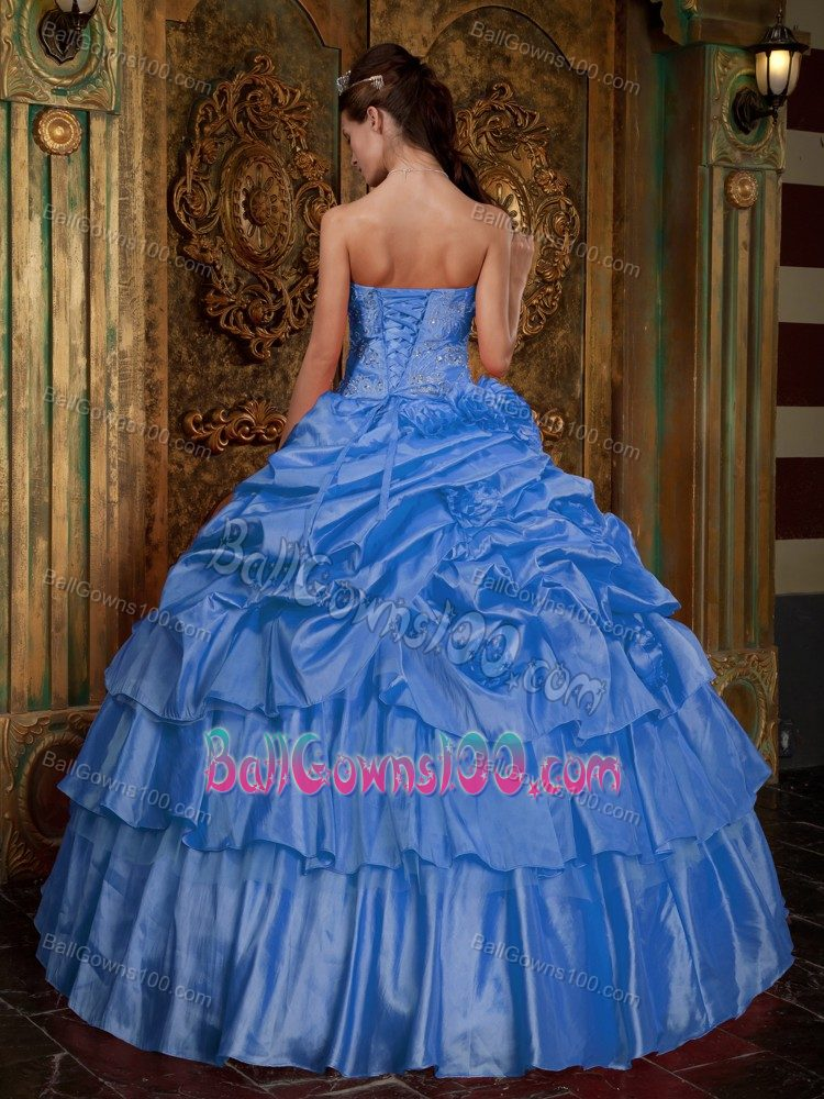 Aqua Blue Ball Gown Strapless Evening Gowns for Military Ball