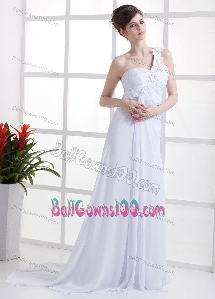 White Flowers One Shoulder Slitted Military Ball Formal Dresses
