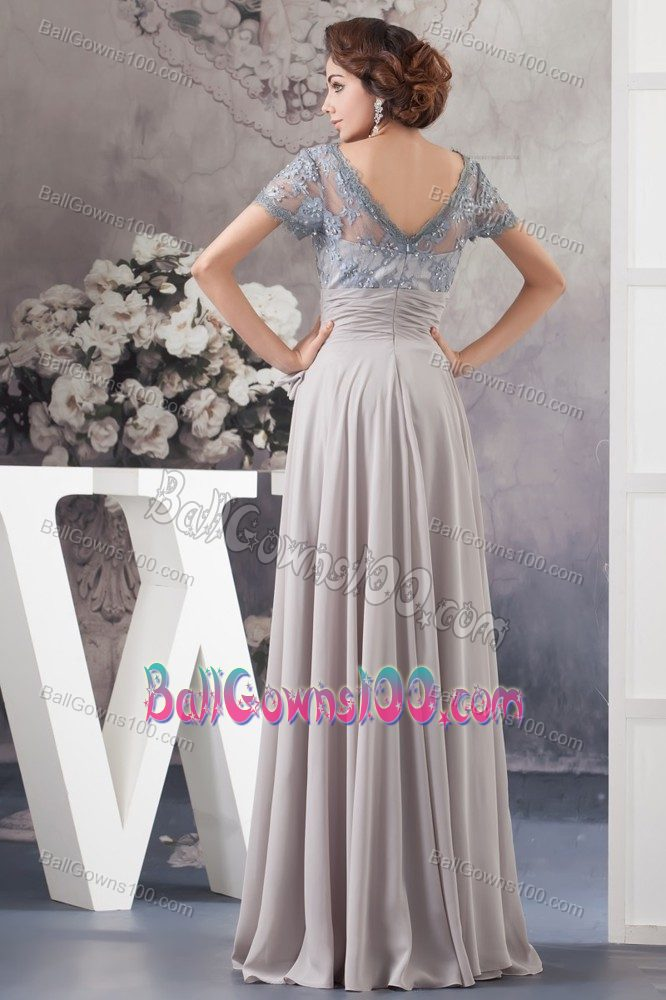 Grey Lace Decorated Square Jrotc Military Ball Dress with Bowknot
