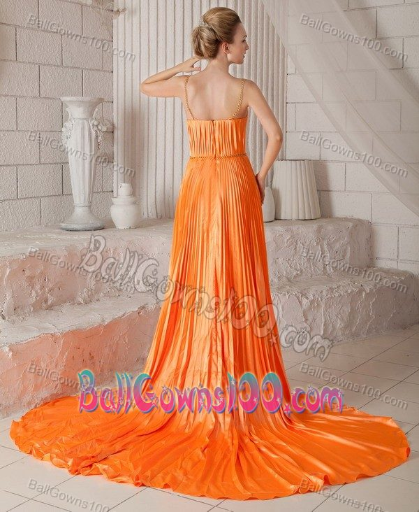 Pleated Orange Red Spaghetti Straps Plus Size Formal Dresses
