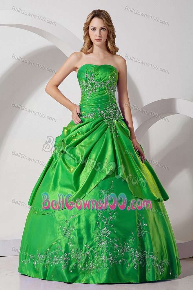 Green Embroidery 2013 Formal Dress for Military Ball with Ball Gown