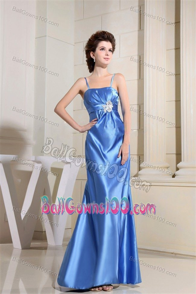 Zipper Up Straps Appliques Beading Sky Blue Taffeta Military Gown