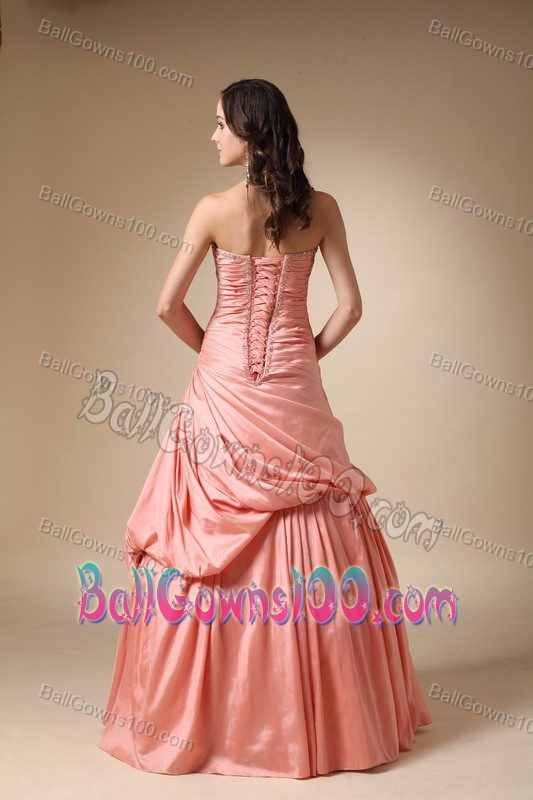 Strapless Beading Pick-ups Ruched Taffeta Orange Military Gowns