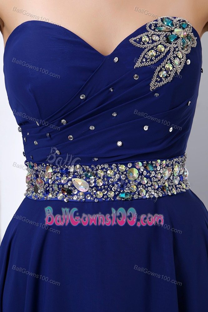 Royal Blue Sweetheart Chiffon Gown For Military Ball with a Beading Sash