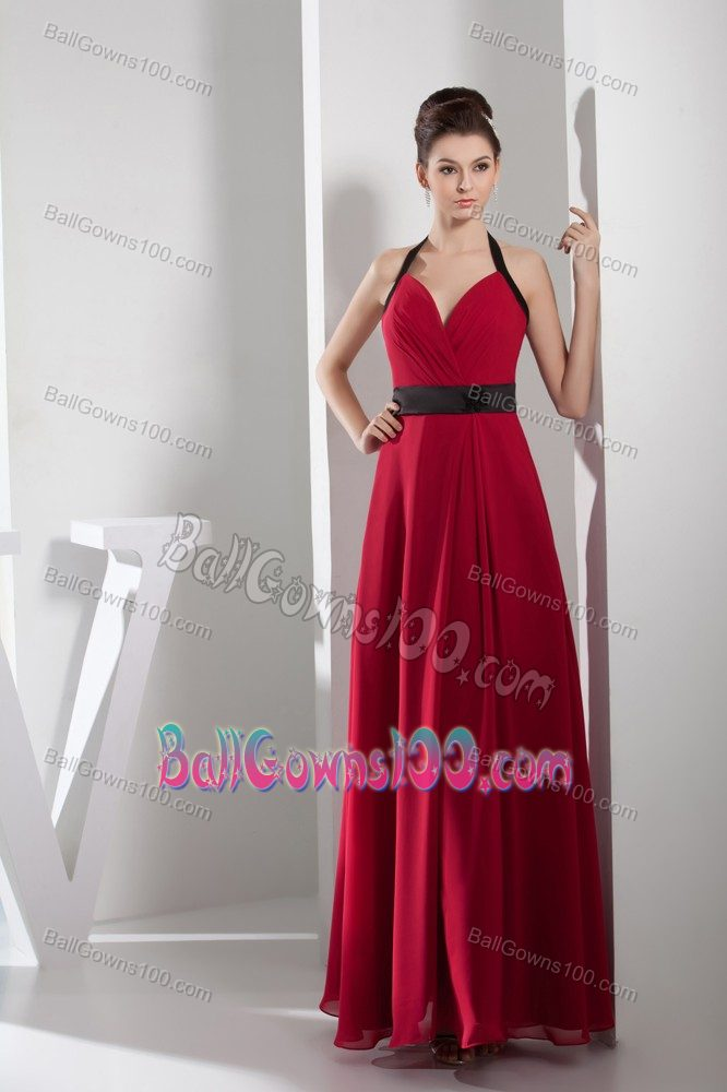 Simple Halter Top Military Ball Dress with a Black Sash in Red Chiffon