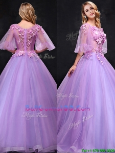 See Through Half Sleeves Bateau Military Ball Gowns with Hand Made Flowers