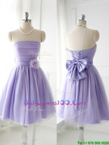 Simple Handcrafted Flower Tulle Lavender Military Ball Gowns with Strapless