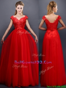 Classical Beaded V Neck Red Military Ball Gowns with Cap Sleeves