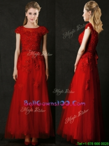 Elegant Empire Applique Red Military Ball Gowns with Cap Sleeves