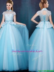 Elegant High Neck Cap Sleeves Military Ball Gowns with Bowknot and Lace