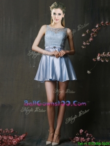 Fashionable Light Blue Short Military Ball Gowns with Lace and Belt