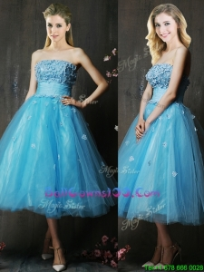 Lovely Strapless Applique Bust Baby Blue Military Ball Gowns in Tea Length
