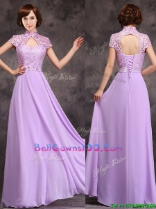 Low Price High Neck Cap Sleeves Lavender Long Military Ball Gowns