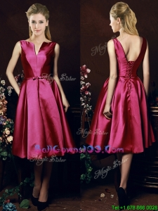 Popular V Neck Knee Length Bowknot Military Ball Gowns in Fuchsia