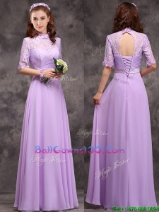 Perfect High Neck Handcrafted Flowers Military Ball Gowns with Half Sleeves