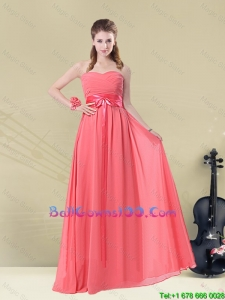 Sweetheart Watermelon Long 2016 Military Ball Gowns with Bow Belt