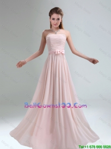 2016 Most Popular Light Pink Empire Bridesmaid Dress with Bowknot belt
