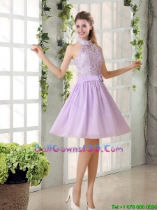 High Neck Lilac A Line Lace Military Ball Gowns Chiffon for 2016
