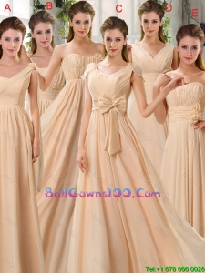 2016 Fashionable Champagne Ruching Chiffon Military Ball Gowns