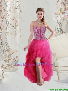 Elegant High Low Sweetheart Beaded and Ruffles Military Ball Gowns in Hot Pink