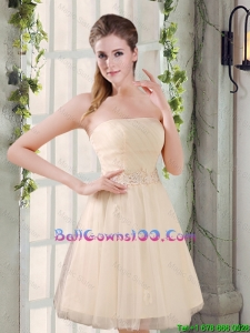 Strapless Appliques 2016 New Military Ball Gowns in Champagne