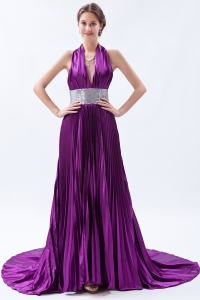 Eggplant Purple Backless Sequin Pleat Prom Dress A-line / Princess Halter Court Train