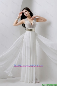 Classical Empire V Neck White New Style Military Ball Gowns with Beading and Belt