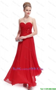Gorgeous Sweetheart Ruched Red Perfect Military Ball Gowns with Appliques