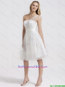 Perfect Knee Length One Shoulder Military Ball Gowns in White