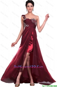 Wonderful One Shoulder Wine Red Military Ball Gowns with Beading for 2016