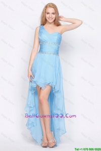Affordable One Shoulder Beading High Low Celebrity Dresses in Baby Blue