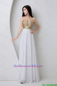 Beautiful Empire Sequined White Military Ball Gowns with Beading