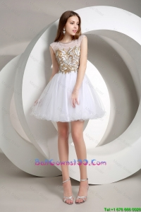Popular A Line Beaded Mini Length Military Ball Gowns in White
