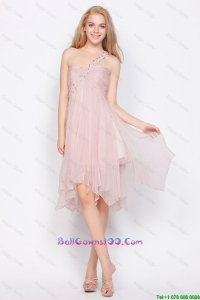 Luxurious One Shoulder Beading Military Ball Gowns in Light Pink On Sale