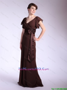 Elegant Belt and Bowknot Brown Prom Dresses with Brush Train