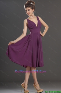 Perfect V Neck Short Military Ball Gowns in Eggplant Purple