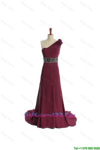 Gorgeous One Shoulder Burgundy Military Ball Gowns with Beading and Belt