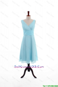 Custom Made Empire V Neck Knee Length Ball Gowns in Light Blue