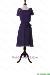 Simple Short Purple Ball Gowns with Sashes and Ruffles