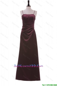 Simple Spaghetti Straps Ruching Long Ball Gowns in Burgundy