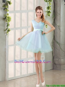 2016 Summer V Neck Strapless Short Ball Gowns Dresses with Bowknot