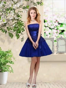Popular Hand Made Flowers Royal Blue Ball Gowns Dresses with Appliques