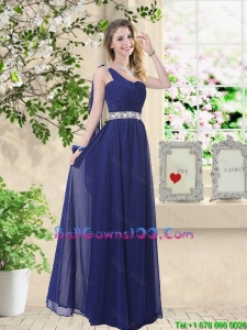 Comfortable One Shoulder Military Ball Gowns in Navy Blue