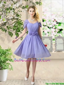 Elegant Hand Made Flowers Military Ball Gowns with Short Sleeves