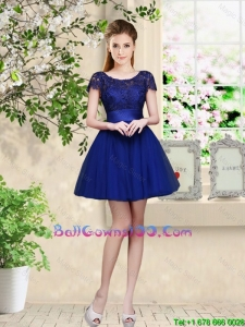 Sturning Bateau Short Royal Blue Military Ball Gowns with Cap Sleeves