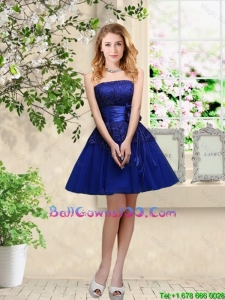 Popular Hand Made Flowers Royal Blue Military Ball Gowns with Appliques
